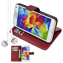 buy Pu Leather Folio Book Style Flip Cover Stand Case For Samsung Galaxy S5 S 5 Sv - Red + Vangoddy Headphone With Mic , White