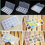 10/15/24 Grid Slot Compartment Storage Box Case Jewelry Earring Ring Container