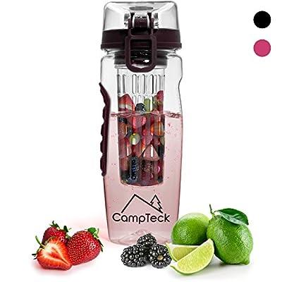 CampTeck 1 Liter 1000ml Trinkflasche Fruchtschorlen Infuser Wasserflasche (BPA-freier Tritan Kunststoff) mit auslaufsicherem Deckel + Verschluss & Tragehenkel