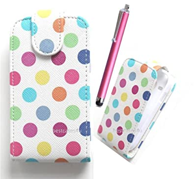 Apple iPhone 5 MultiColour Polka Dots Print Vertical High Quality Pu Leather Flip Inside Tpu / Gel Internal Frame Case Cover Plus Pink Long Stylus Pen, Screen Protector & Screen Polishing Cloth