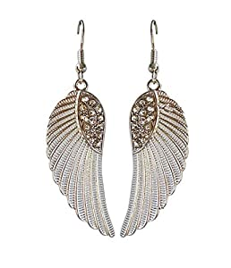Basket Hill Watches And Gifts Women's Silver Tone And Crystal Angel Wings Dangle Earrings