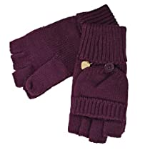 Purple Knit Half Fingerless Thumbs Mitten Gloves