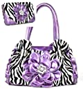Purple Zebra Print Flower Rhinestone Purse W Matching Wallet