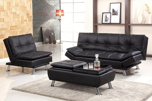 Buy 3pc Contemporary Modern Leatherette Futon Sofa Bed Set, BM H309 S1 For Low  Price