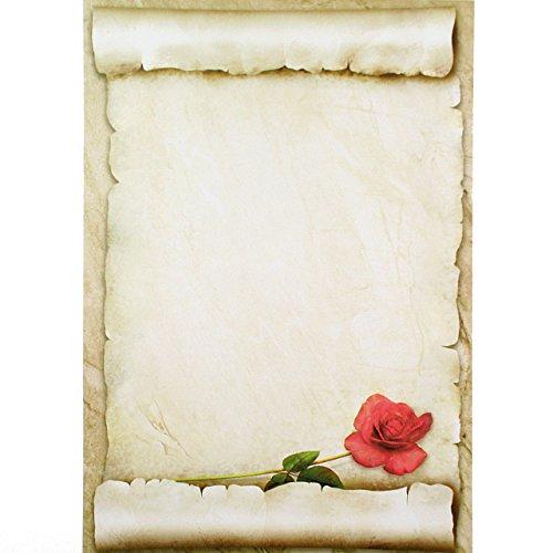 briefpapier rote rose 50 blatt sch nes liebesbrief. Black Bedroom Furniture Sets. Home Design Ideas