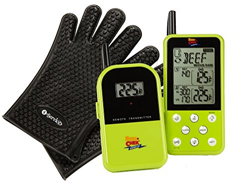 Long Range Wireless Dual Probe Barbecue Smoker Meat Thermometer Set - Newest Version with a Larger Display and Added Features - Monitors your grill up to 300 feet (Et-733) - Green and a Bonus pair of top quality Heat Resistant Silicone Gloves in Black (Maverick Meat Thermometer compare prices)