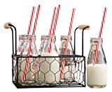 Set of Six (6) Clear Glass Old Fashioned Milk Bottles 6.75-oz in Wire Tray with Wooden Handles ~ 6-pack Drink Cups with Red Striped Straws