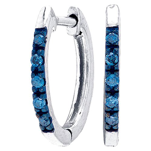 Blue Diamond Earrings Hoop Fashion Sterling Silver (0.10 ct.tw)