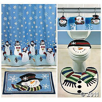 snowman bathroom set includes snowman shower curtain 12 snowman