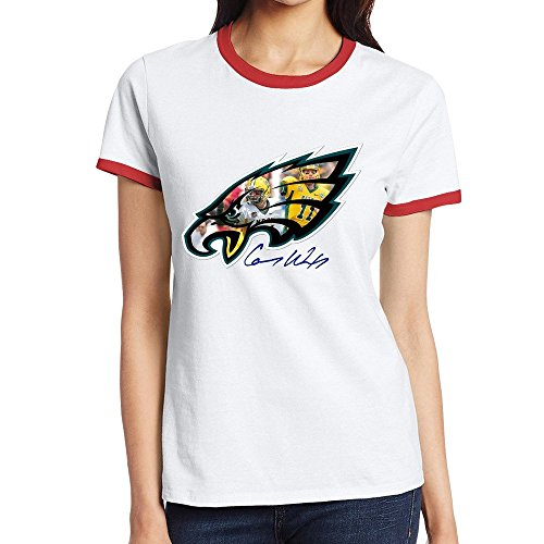 [Custom Women's Particular Two-toned T Shirt Carson Wentz Red Size XL] (Customs For Halloween Ideas)