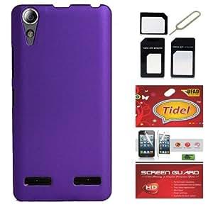 Tidel Stylish Rubberized Plastic Back Cover For Lenovo A6000 Shot ( Purple ) With Tidel Screen Guard & Micro/Nano Sim Adapter