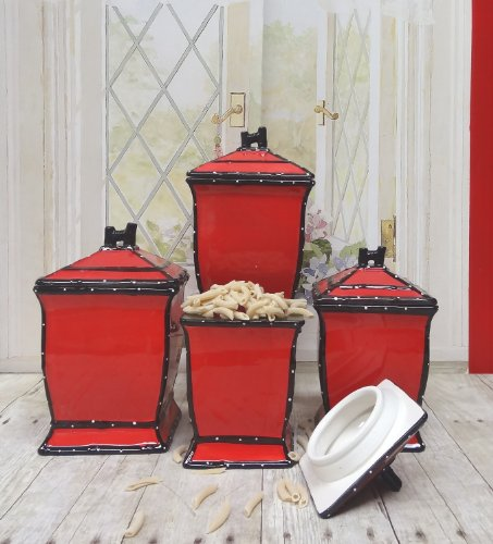 Tuscany Hand Painted Red Ruffle 4Pcs Canister Set, 85201 By Ack back-198429
