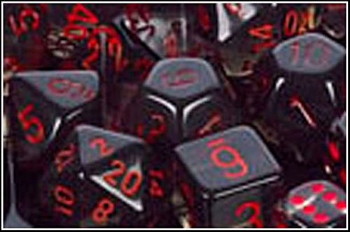 Chessex Manufacturing 23018 7-Die Polyhedral Set Smoke With Red Translucent - 1