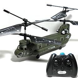 赤外線ミリタリーヘリ CARGO TRANSPORT PLANE タンデムローターで抜群の安定感! 赤外線コントロール ミリタリー ヘリコプターシリーズ  CH-47 チヌーク タイプ(CH-47 Chinook) 【ミリタリーキーホルダー付き】