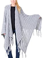 Big Star Poncho Fringe_Sweater (Gris)