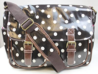 Designer Oilcloth Polka dots Cross Body Saddle Bag Satchel Shoulder Messenger Dark Coffee (almost black)