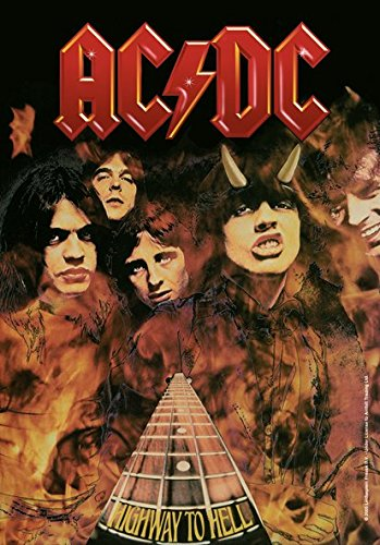 Heart Rock Licensed Bandiera Ac/Dc - Highway To Hell, Tessuto, Multicolore, 110X75X0,1 cm