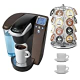 Keurig K75 Platinum Brewing System w/ 12 K-cups & Water Filer Kit B70 (Platinum - Mocha) + Nifty 28 K-Cup Carousel + Accessory Kit