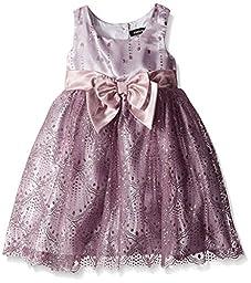 Zunie Little Girls\' Sleeveless Printed Glitter Mesh Dress with Bow, Lavender, 5
