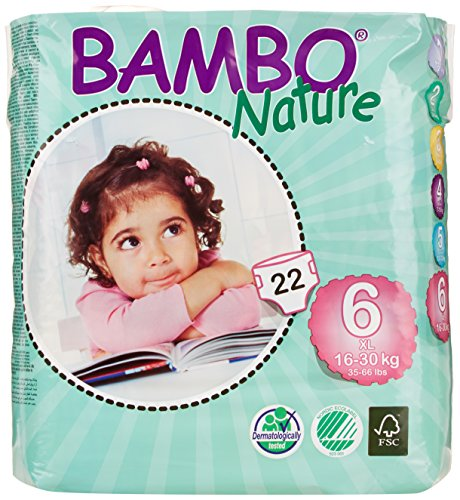 Bambo Nature Premium Baby Diapers, X-Large, Size 6, 22 Count (Pack of 6)