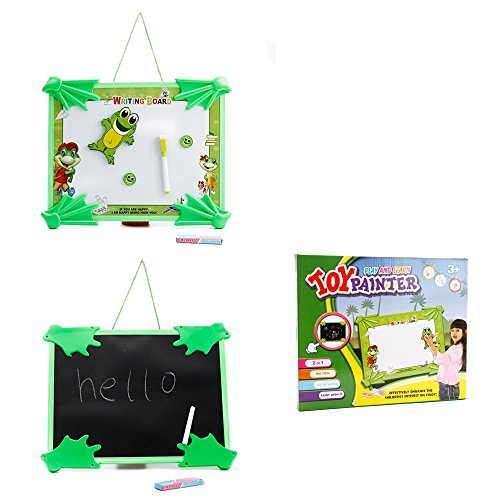 ToyerBee-Plastic-Tabletop-Easel-Double-sided-Magnetic-Chalk-Dry-Erase-Writing-and-Drawing-Board-For-Kids-Happy-Frog