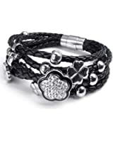 KONOV Bijoux Bracelet Femme - Charms Fleur Shamballa - Fantaisie - Cuir - Acier Inoxydable - pour Femme - Chaîne de Main - Couleur Noir Argent - Avec Sac Cadeau - F22423