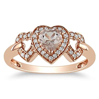 10K Rose Gold, Diamond and Morganite Heart Shaped Ring