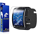 ArmorSuit MilitaryShield - Samsung Gear S Screen Protector + Black Carbon Fiber Full Body Skin Protector / Front Anti-Bubble Ultra HD - Extreme Clarity & Touch Responsive Shield with Lifetime Free Replacements - Retail Packaging