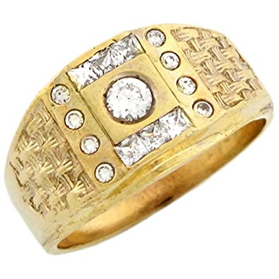 9ct Yellow Gold Mens CZ Cluster Ring Wtih Basket Weave Detail On Sides