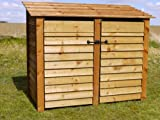 DOUBLE 4FT WOODEN LOG STORE/GARDEN STORAGE, WITH DOORS, BROWN, HEAVY DUTY, HAND MADE, PRESSURE TREATED, NATIONWIDE DELIVERY.