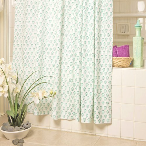 aqua designer luxury fabric tropical shower curtain