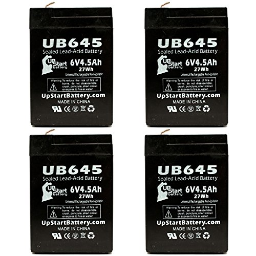 4X Pack - Lithonia 6Elm2 Battery - Replacement Ub645 Universal Sealed Lead Acid Battery (6V, 4.5Ah, 4500Mah, F1 Terminal, Agm, Sla) - Includes 8 F1 To F2 Terminal Adapters