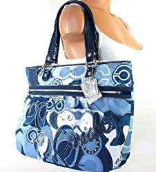 Coach Poppy Blue Jean Pop C Denim Glam Tote Bag 15735 Silver Blue