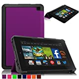 Britainbroadway 2014 Fire HD 6 Case Cover - Tri-Fold Ultra Slim Stand Case Cover With Smart Cover Auto Wake/Sleep Case For Amazon New Kindle Fire HD 6.0 Inch 4th Generation Tablet (Fire HD 6, Purple)