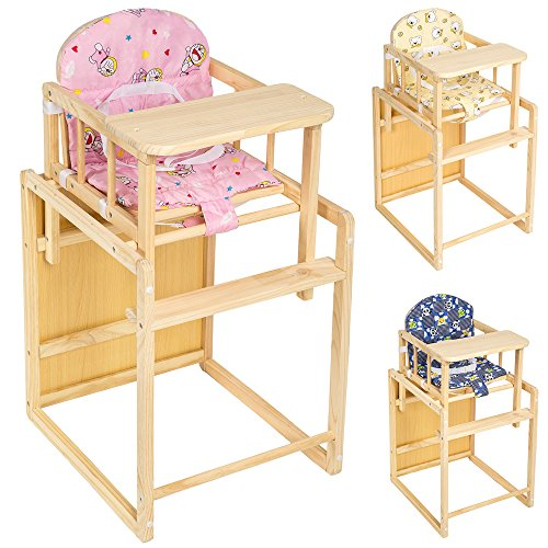 TecTake Kinderhochstuhl Kombihochstuhl Hochstuhl Babyhochstuhl Holz Baby Stuhl + Tisch 2 in 1 Kombination - diverse Farben - (Pink)