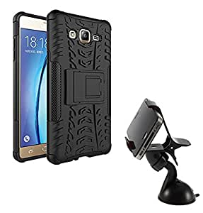 Aart Hard Dual Tough Military Grade Defender Series Bumper back case with Flip Kick Stand for Samsung ON7 + Car Mobile Holder Mount Bracket Holder Stand 360 Degree Rotating by Aart store.