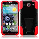 Generic Hybrid Double Layer Fusion Cover Case with Kickstand for LG Optimus G Pro E980 - Retail Packaging - Black/Red