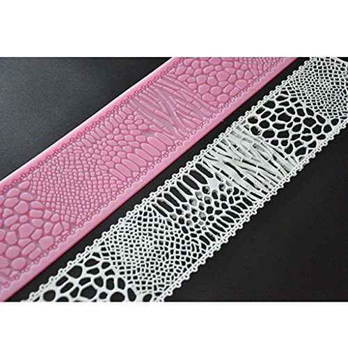 FOUR-C Decorating Tools Cake Lace Mat Silicone Decoration Mat for Fondant Cake Color Pink