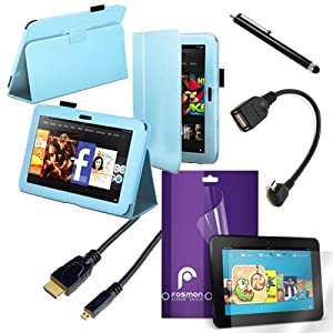 """Fosmon 5 in 1 Bundle for Amazon Kindle Fire HD 7"""" Inch Tablet Device- 1x Fosmon OPUS Series Leather Folio Stand Case, 1x Fosmon Crystal Clear Screen Protector Shield, 1x Fosmon Black Capacitive Touch Screen Stylus Pen, 1x Fosmon Micro USB to USB Cable, 1x"""