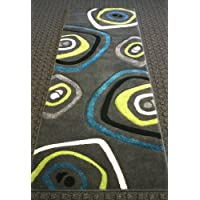 Modern Area Runner Rug 32 In. X 7 Ft. Design 600 Charcoal