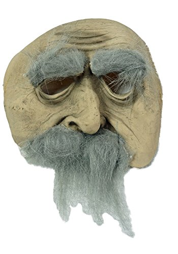 [Halloween Deluxe Chinless Old Man Mask - Grey Hair and Beard for Adult / Teen] (Old Man Halloween Mask)