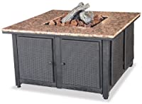 Uniflame GAD1200B LP Gas Outdoor Firebowl with Granite Mantel with removable side panels from UniFlame