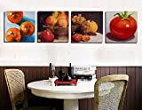 4 painting sets of fruits and vegetables Canvas oil painting print with wooden mounting | printasia CANVAS CLOTH PAINTING PRINT , size 31x31x5 cms
