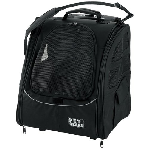 Pet Gear I-GO2 Traveler Roller Backpack for cats and dogs, Black
