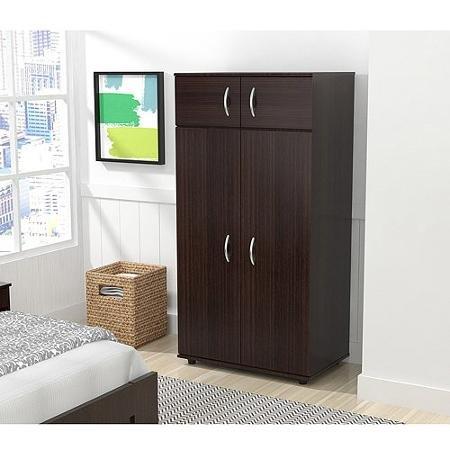 Inval Four Door Wardrobe/Armoire, Espresso-Wengue Finish