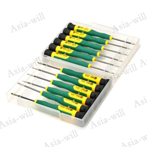 12-In-1 Repair Opening Tool Kit Screwdriver For Cellphone Iphone 5 / Ipad 4/ Samsung / Nokia Etc.- Green + Yellow + Black