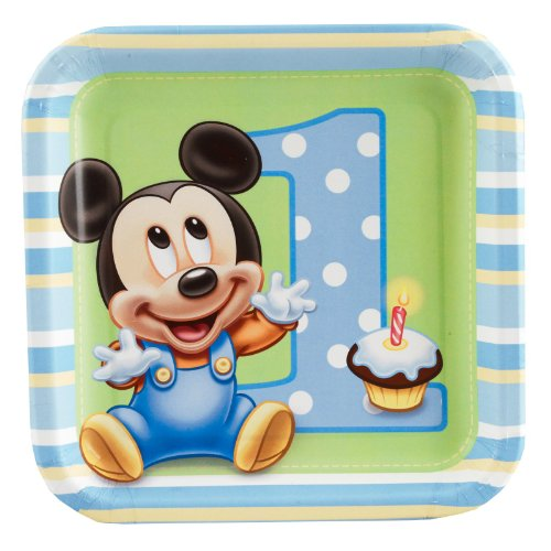 Mickey's 1st Birthday Dessert Plates (8 count) - 1