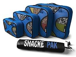 Shacke Pak - 4 Set Packing Cubes - Travel Organizers with Laundry Bag (Gentlemen\'s Blue)