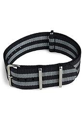 Shark Straps - 22mm Black and Gray Striped Nylon Watch Strap - James Bond Strap