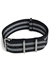 Shark Straps - 22mm Black and Gray Striped Nylon Watch Strap - James Bond Strap